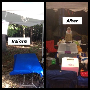 Tent Setup: Before & After